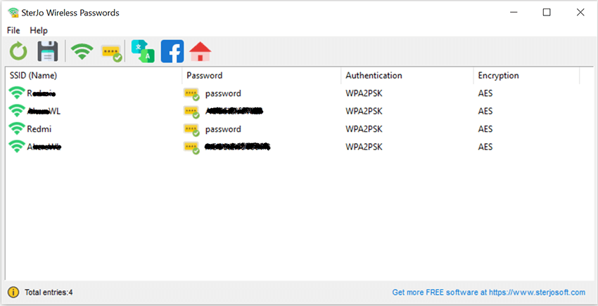 Click to view SterJo Wireless Passwords 1.3 screenshot